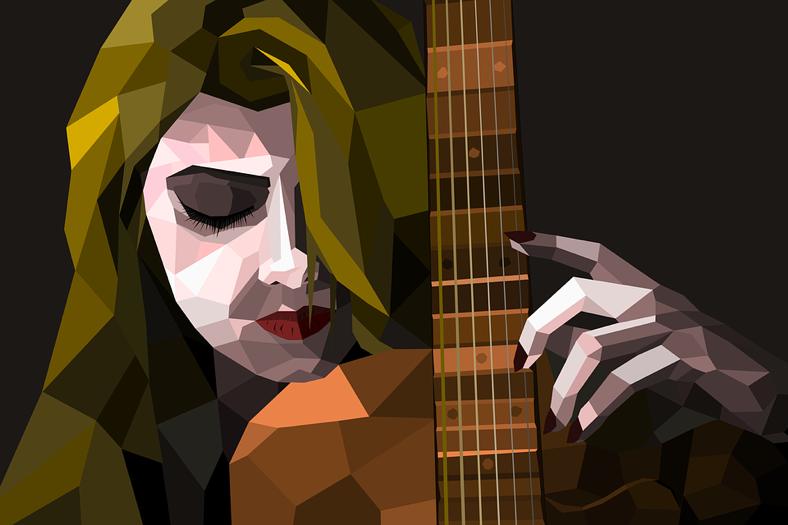 imagen de mujer y guitarra estudio y concentración